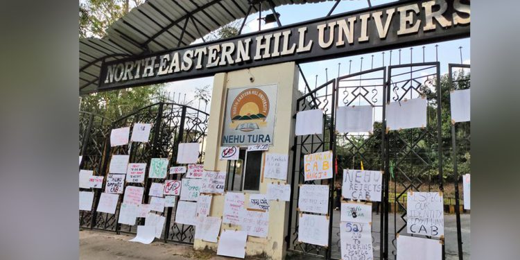 Students oh NEHU say no to CAB. Image Credit: Twitter