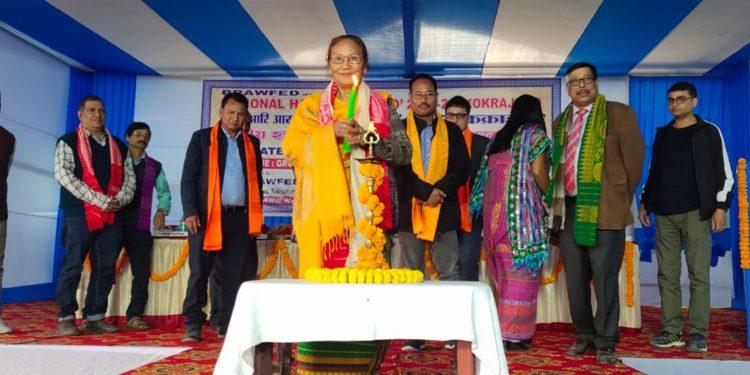 Assam minister Pramila Rani Brahma inaugurating the National Handloom Expo. Image: Northeast Now