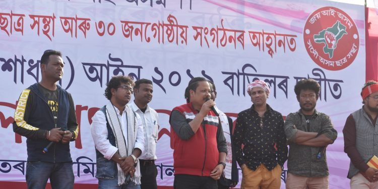 Musician Manas Robin at Tangla in anti CAA protest. Image: Northeast Now