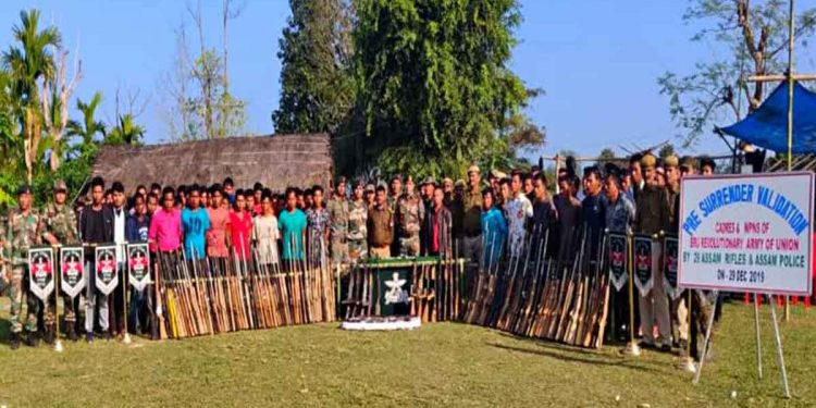 Bru extremists lay down arms in Tripura. Image: Northeast Now