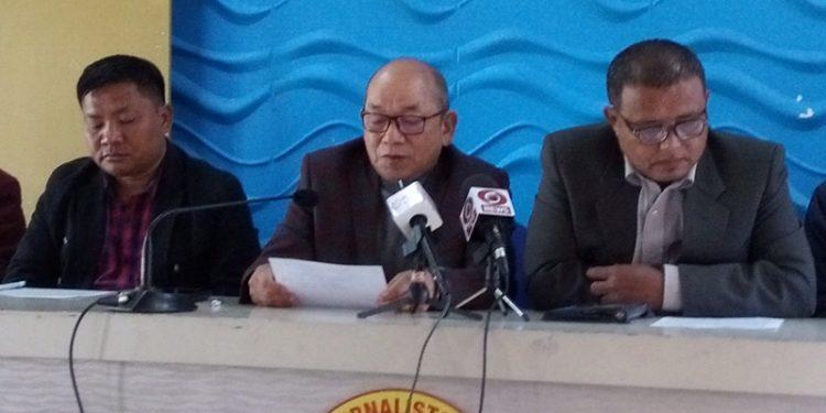 ZPM secretary general K. Sapdanga speaking to reporters in Aizawl on Friday.