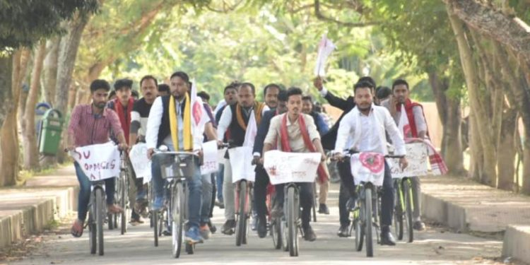 The protesters who came from different parts of Dibrugarh district first took out a motorcycle rally across the town.