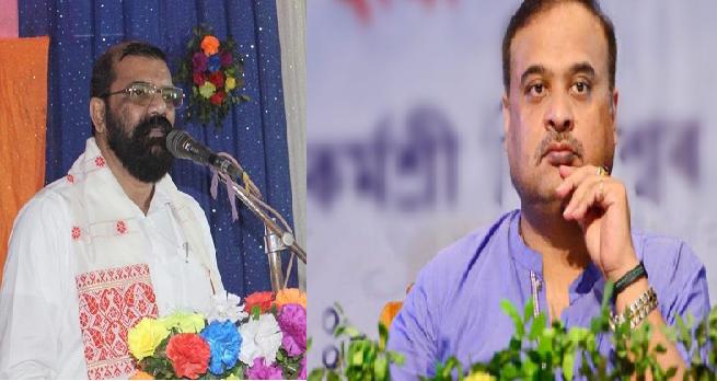 Joint up image of AASU advisor Samujjal Bhattacharya (left) and Assam finance minister Himanta Biswa Sarma