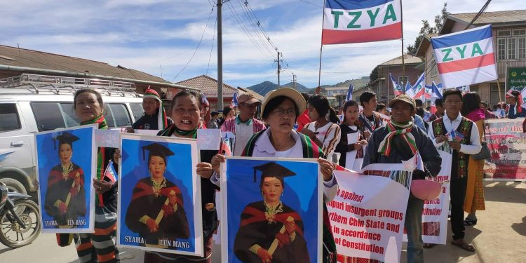 More than 500 protestors took to the streets of Tonzang township in Chin State on Sunday. Image credit: Chin World