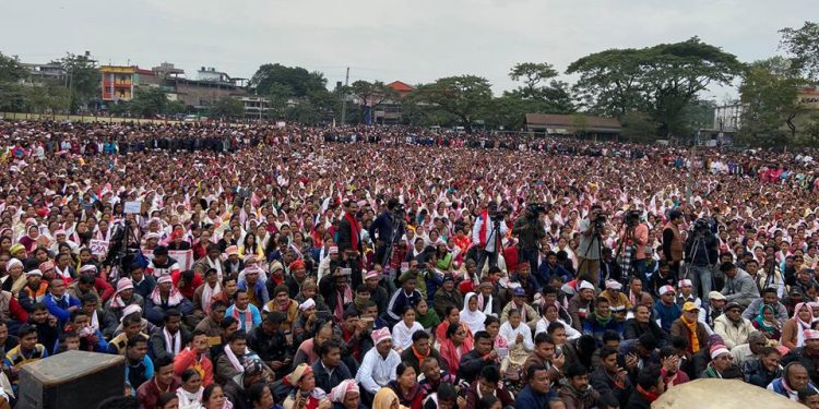 Over one lakh people assembled at Dhemaji on Thursday.