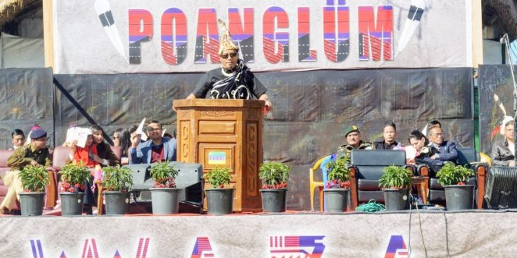 Lima Onen Chang, OSD to Chief Minister of Nagaland addressing the first day of the Poanglüm Mini Hornbill at Loyem Memorial Ground, Tuensang town on January 13, 2020. Image courtesy: Media Cell, Poanglüm Mini Hornbill 2020)