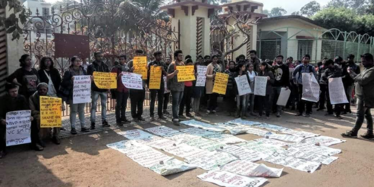 Visva Bharati University students stage protest on Thursday.