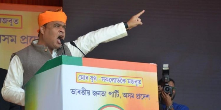 Assam finance minister Himanta Biswa Sarma speaks at the booth level meeting in Guwahati. (File image)