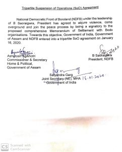 Assam: NDFB(S) signs Suspension of Operations agreement with Centre 1