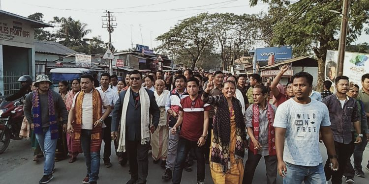 Jubilant people taking  out  a rally after the accord at Tangla town in Udalguri district on January 27, 2020. Image: Northeast Now