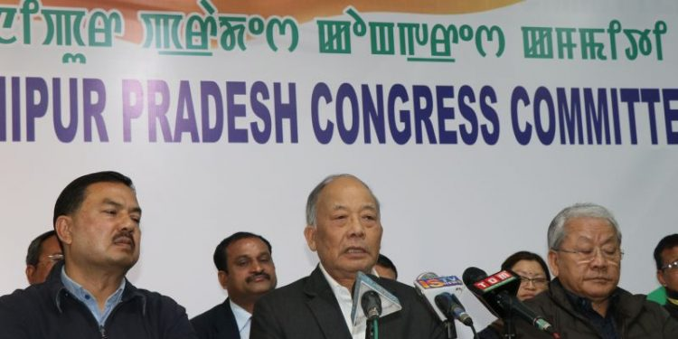 Former Manipur chief minister Okram Ibobi Singh addressing the media in Imphal. (File image)