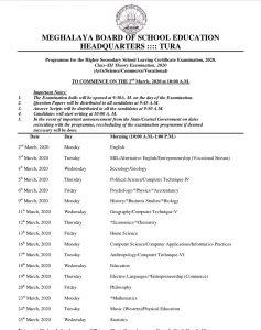 Meghalaya board final exams in March 2