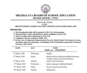 Meghalaya board final exams in March 1