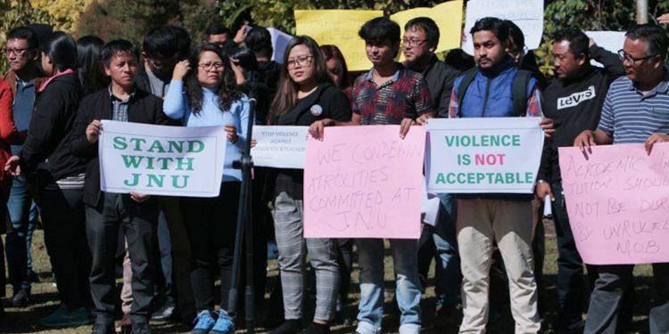 Protest at Mizoram University campus