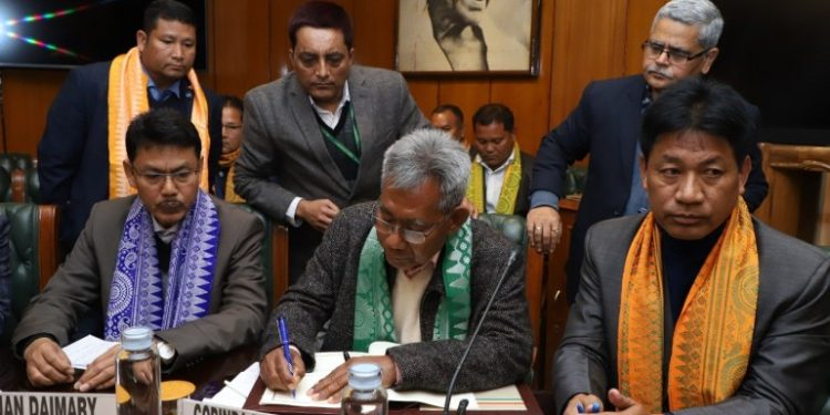 NDFB chief Ranjan Daimary and other leaders in New Delhi. (File image)