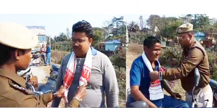 Policemen at Pathsala in lower Assam's Barpeta district on Saturday offered the offenders gamosa and request them not to violate the traffic rule.
