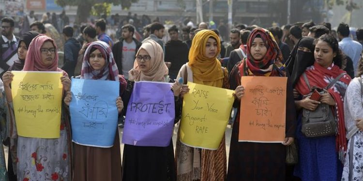 Protesters demanded the death penalty for anyone found guilty of rape.
