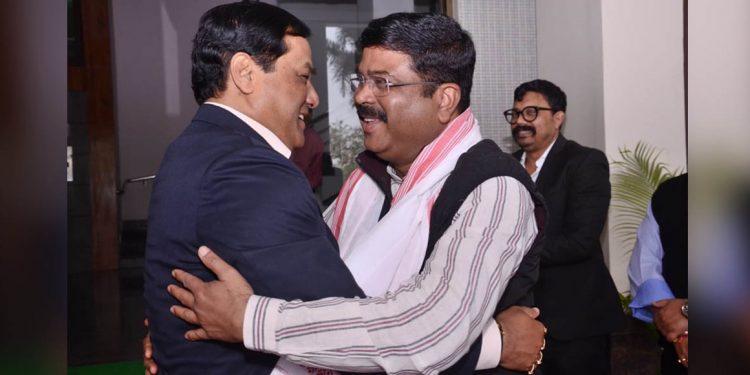 Sonowal with Dharmendra Pradhan