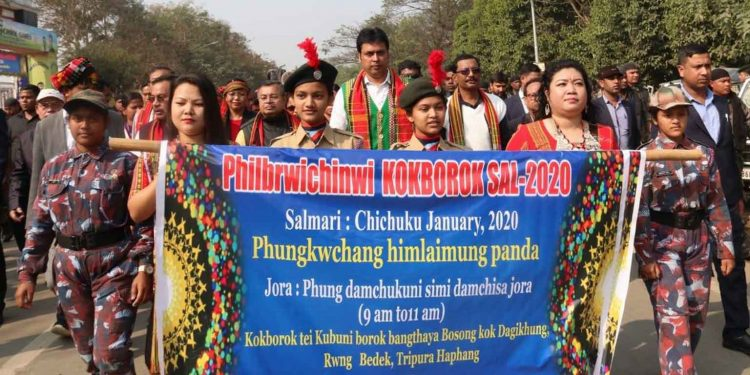 Tripura CM Biplab Deb with others taking part in a rally organised on the occasion of 42nd Kokborok Day on Sunday. Image: Northeast Now