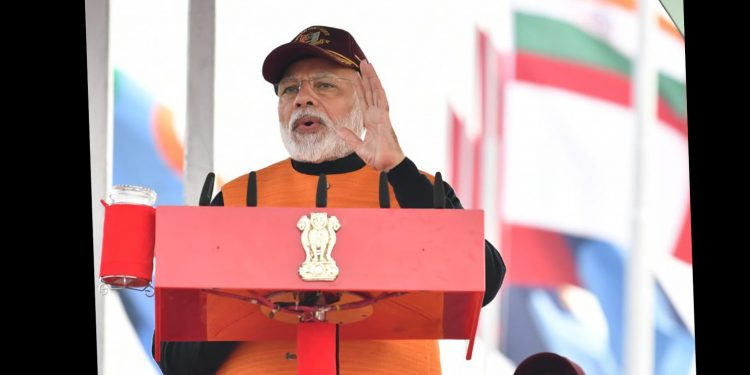 PM Narendra Modi addressing an NCC rally in Delhi on Tuesday. Image credit: @PMO