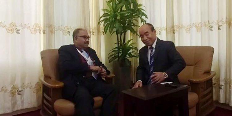Mizoram CM Zoramthanga in conversation with senior journalist Subir Bhaumik