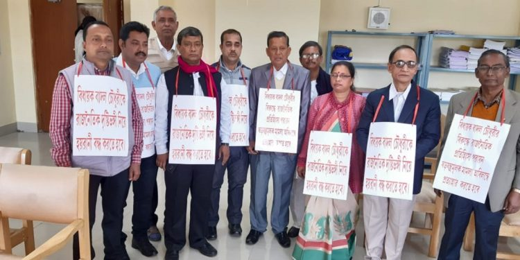 CPI (M) MLAs displaying placards against government. Image: Northeast Now