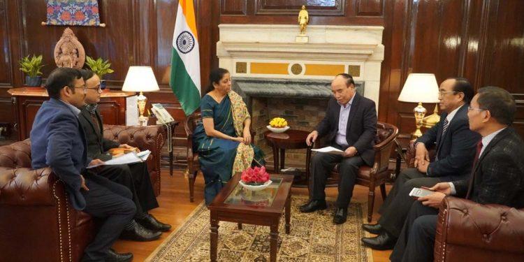 Mizoram CM Zoramthanga with union finance minister Nirmala Sitharaman. Image: Northeast Now