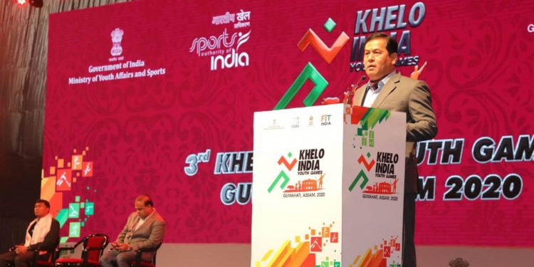 Assam CM Sonowal speaking at the closing ceremony of Khelo India Youth Games