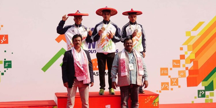 Medal winners in the U17 Boys 200m category at Khelo India Youth Games