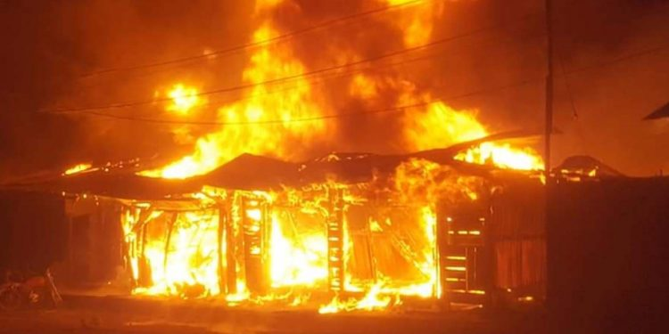 Fire in Ukhrul district of Manipur. Image credit: Imphal Free Press