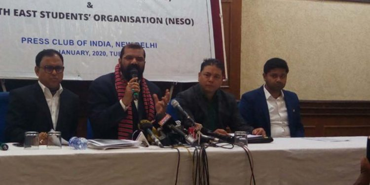 AASU chief adviser Samujjal Bhattacharya along with other leaders addressing the media in New Delhi on Tuesday. Image: Northeast Now