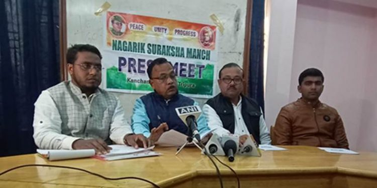 Members of citizens' group in Agartala addressing the media. Image credit: The Indian Express