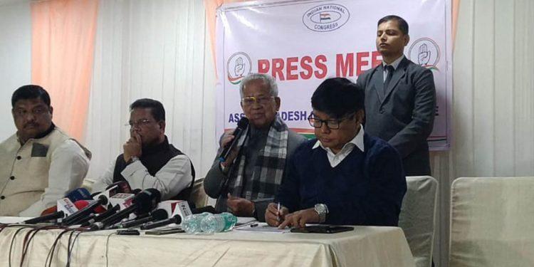 Former Assam CM Tarun Gogoi addressing the media in Guwahati on Friday. Image: Northeast Now
