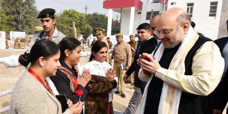 A delegation of refugees in conversation with Amit Shah. Image credit: Hindustan Times