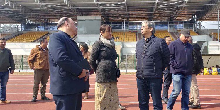 Sacheti (second from left) along with Meghalaya sports department officials at JN stadium in Shillong on Thursday. Image: Northeast Now
