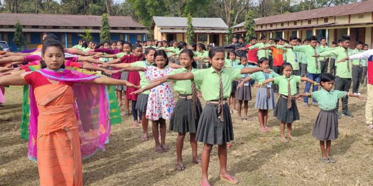School students taking part in Fit India School Week in Chirang. Image: Northeast Now