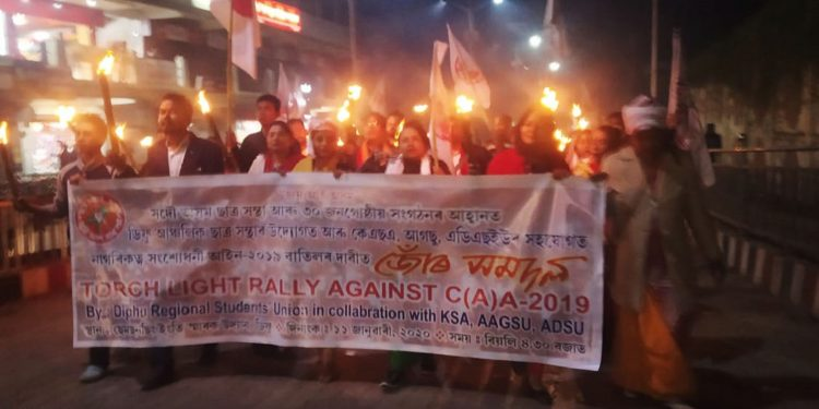Torchlight rally against CAA in Diphu