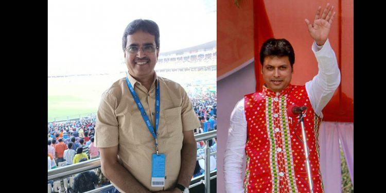 Manik Saha (left) and Tripura CM Biplab Deb (right)