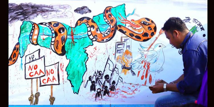 A mural depicting how CAA has strangulated Assam. Image: Northeast Now