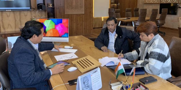 Meghalaya CM Conrad Sangma during a meeting with East Khasi Hills DC on Friday. Image: Twitter