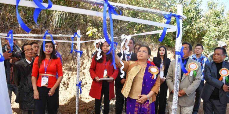 Manipur social welfare minister Nemcha Kipgen inaugurating a new village. Image: DIPR