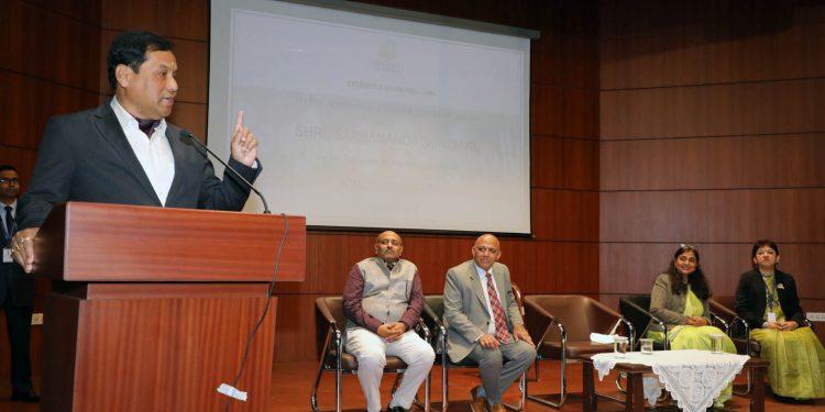 Assam CM Sarbananda Sonowal addressing the gathering after inaugurating Atal Tinkering Lab in Guwahati