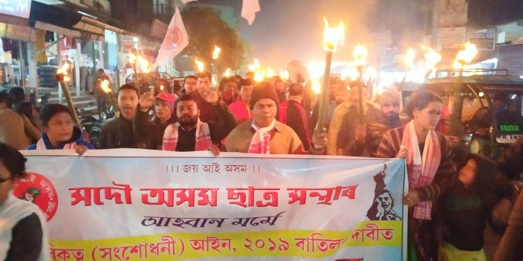 Torchlight rally by AASU in Pathsala on Saturday. Image: Northeast Now