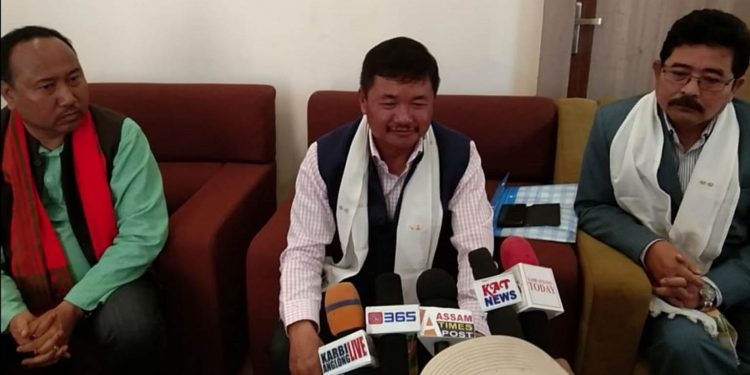 KAAC CEM Tuliram Ronghang addressing the media in Diphu. Image: Northeast Now