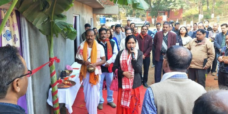 Goalpara DC Varnali Deka interacting with the locals after inaugurating a guest house at Sri Surya Pahar. Image: Northeast Now