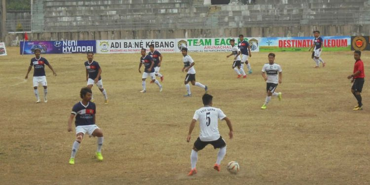 A moment of the match between East Siang and West Siang on Friday. Image: Northeast Now