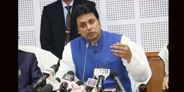 Tripura CM Biplab Deb interacting with reporters in Tripura on Friday. Image credit: Twitter.