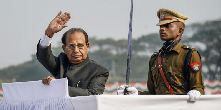 Assam Governor Jagdish Mukhi inspects a guard of honour during the 71st Republic Day parade in Guwahati. Image credit: Hindustan Times