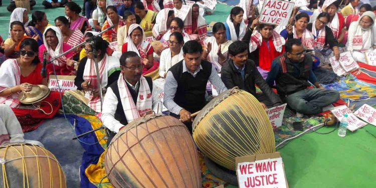 Assamese folk instruments played in Udalguri during anti-CAA protest. Image: Northeast Now