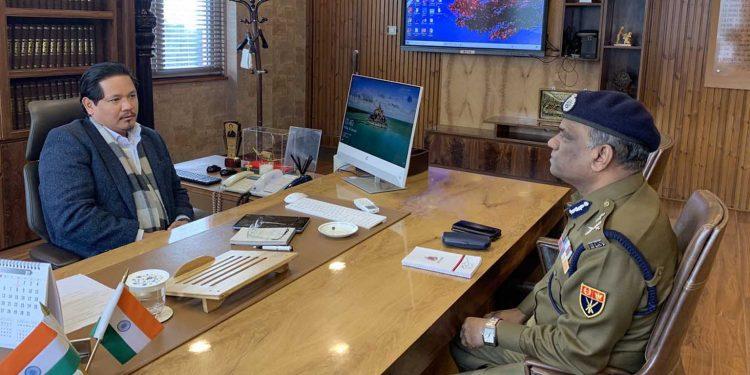Meghalaya CM Conrad Sangma with state DGP